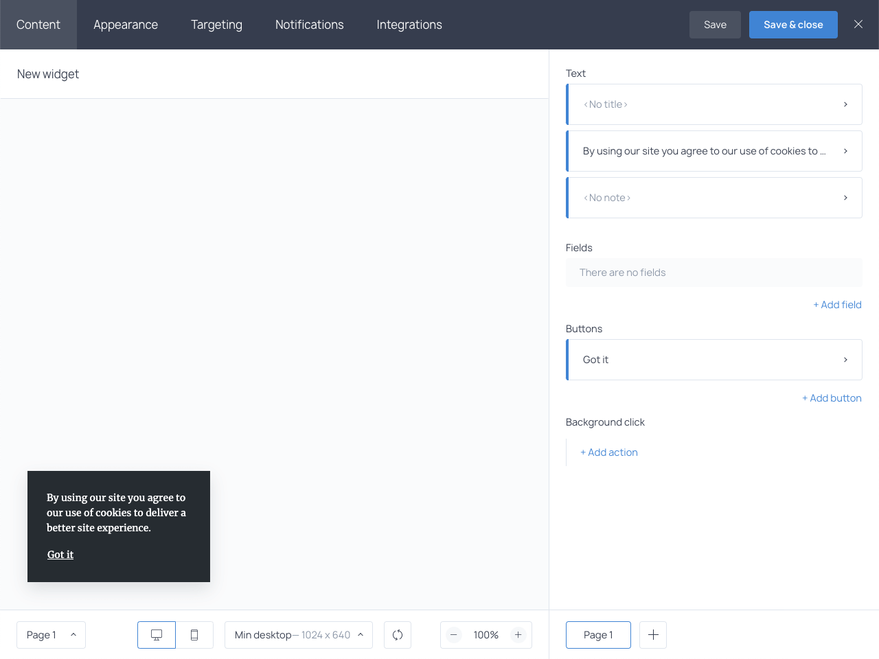 Creating a cookie consent message in Getsitecontrol