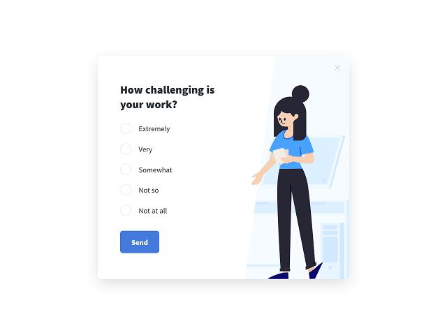 Employee satisfaction survey measuring how challenging employees' work is