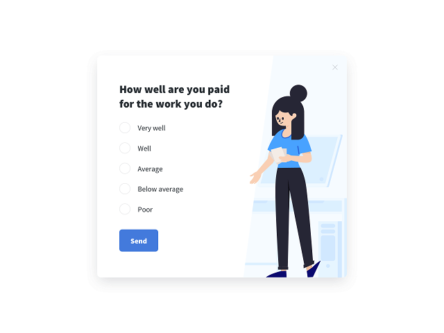 Employee satisfaction survey measuring the pay level satisfaction