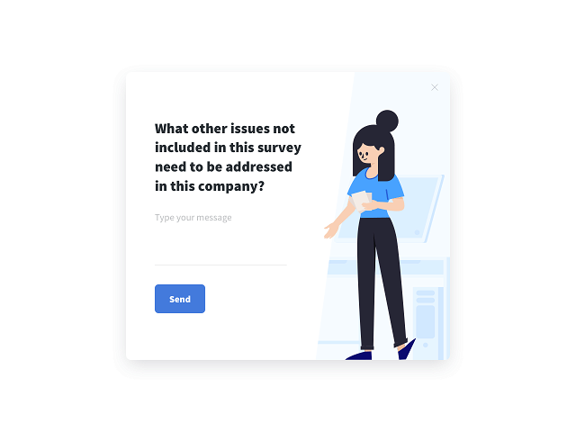 Employee satisfaction survey with an open-ended question