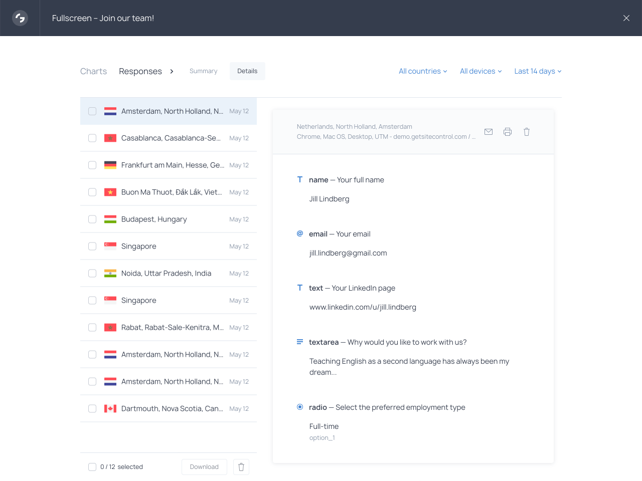 How to view incoming job applications in Getsitecontrol