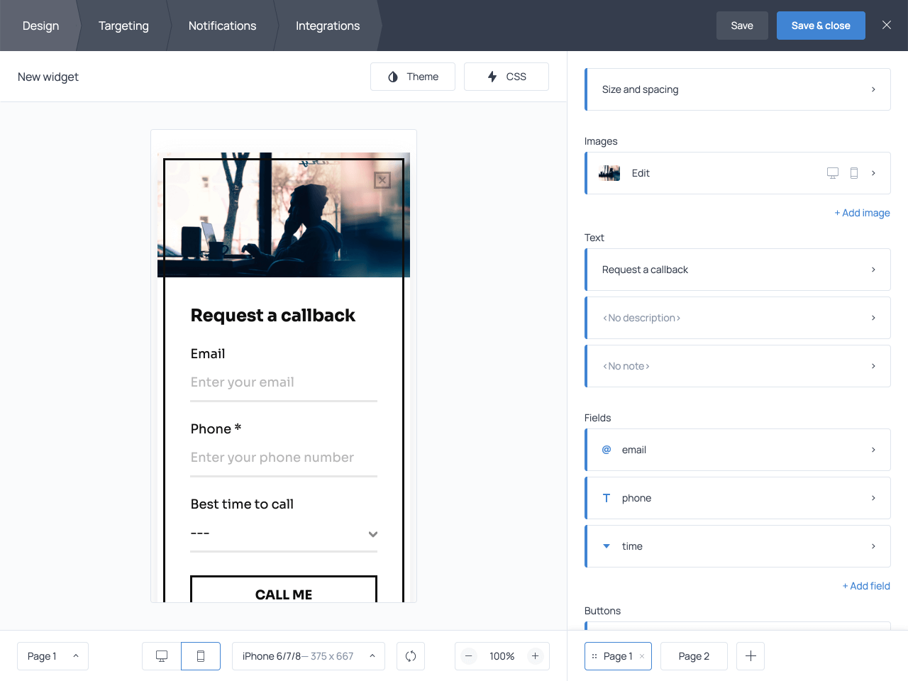 Callback request form on mobile screens