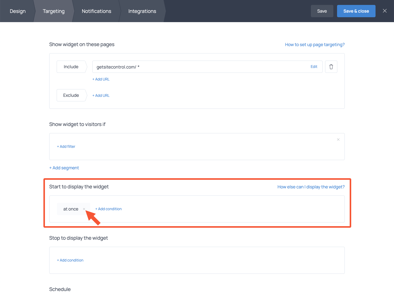 Targeting settings for the callback request form