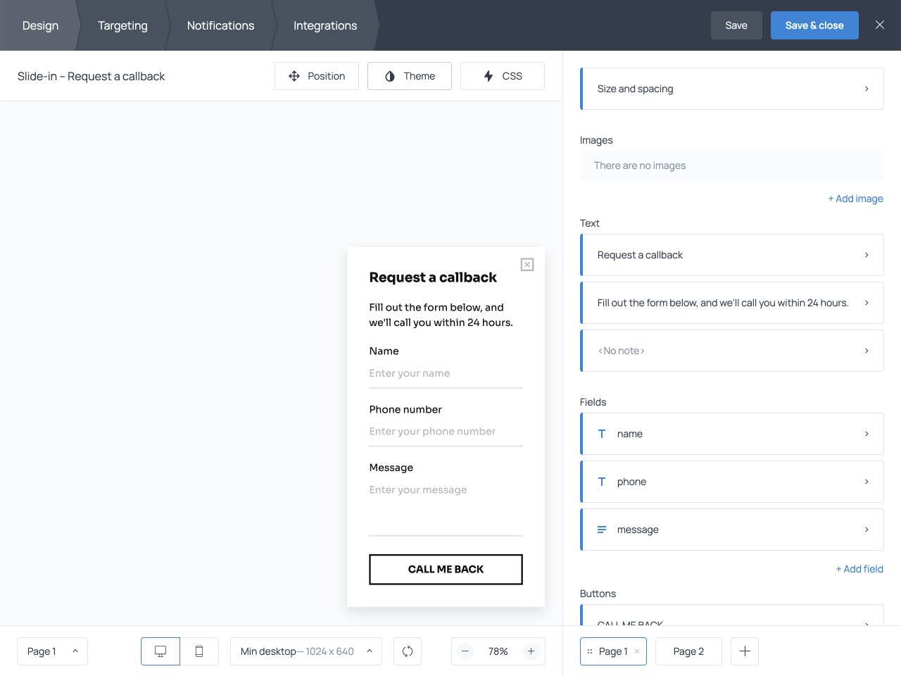 How to create a callback request form in Getsitecontrol