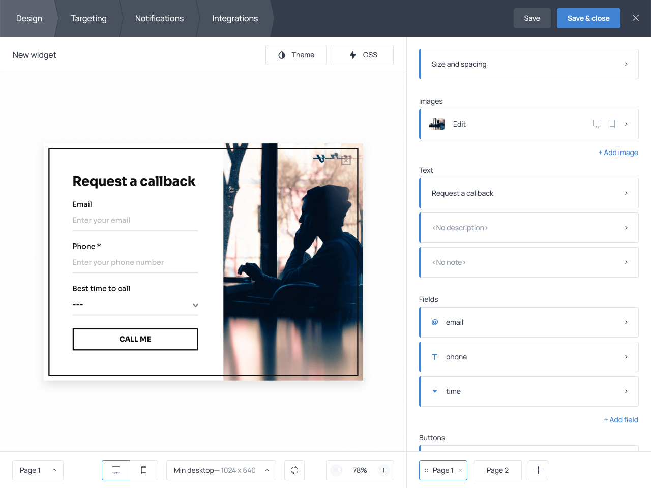 How to customize a callback request form in Getsitecontrol