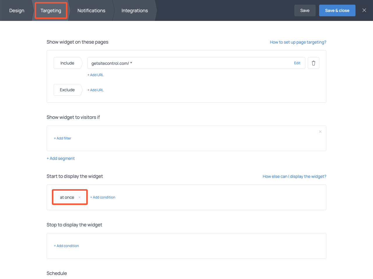 How to set up form displaying settings in Getsitecontrol