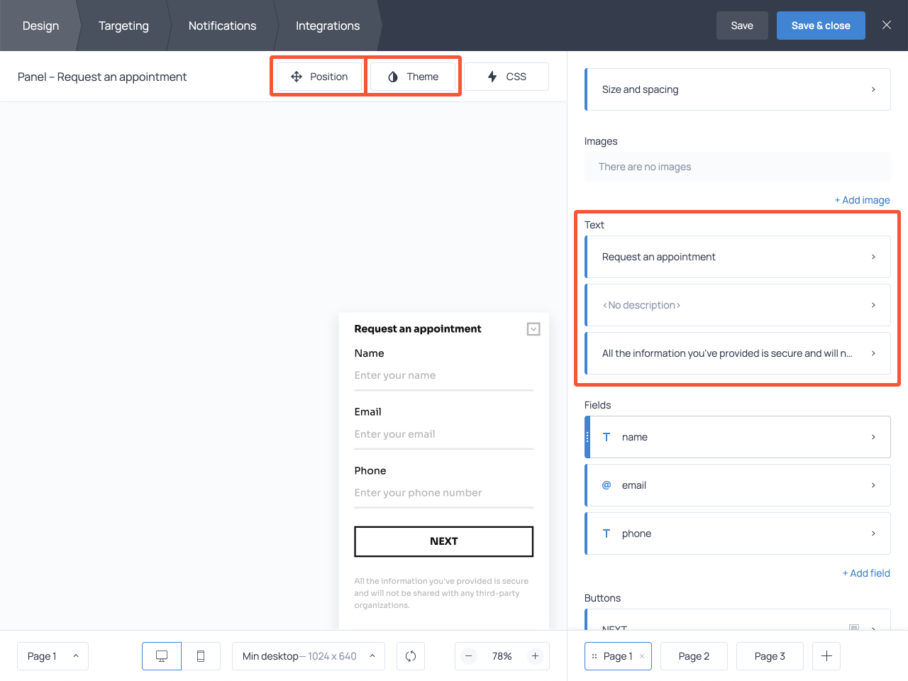 How to edit the text on your online appointment request form