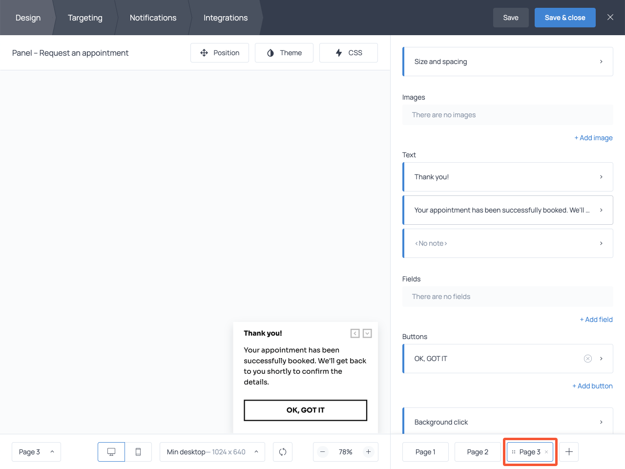 How to create a brief submission success message in Getsitecontrol