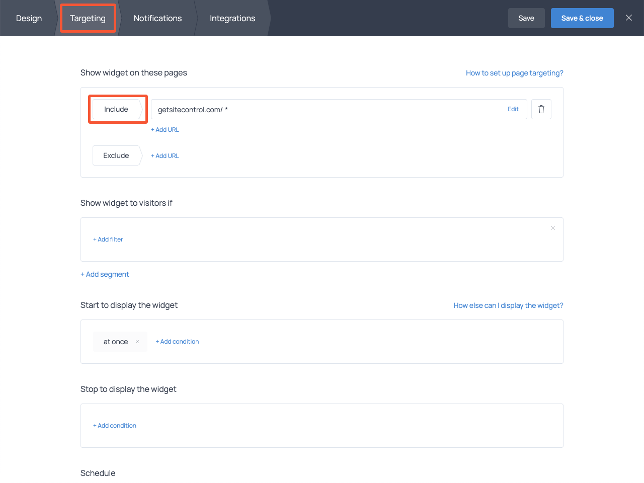 How to adjust targeting settings in Getsitecontrol