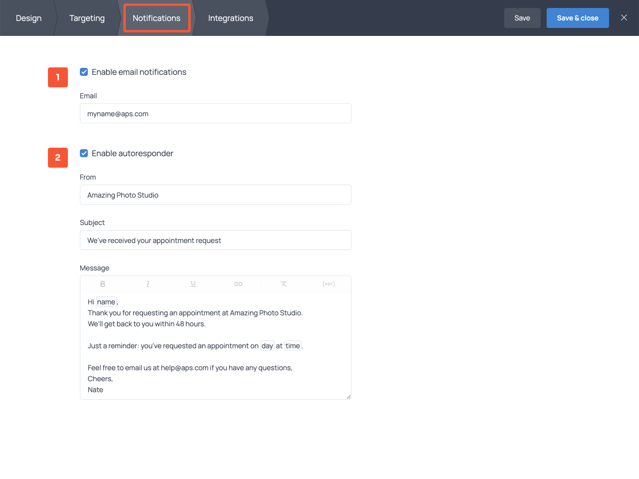 How to create an automatic response for an appointment request form