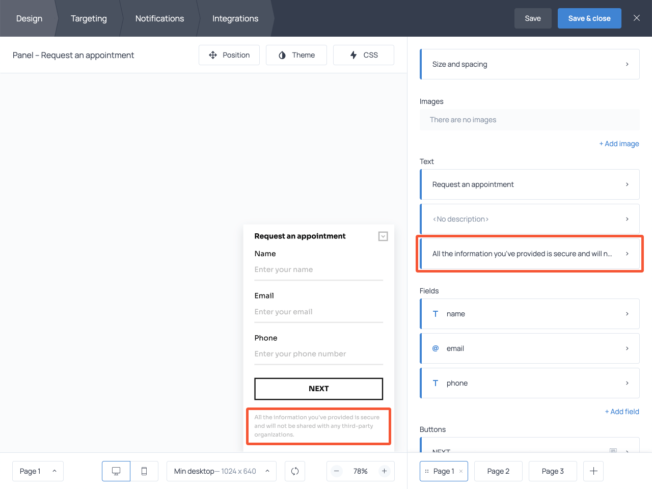 Microcopy example displayed to alleviate customer concerns