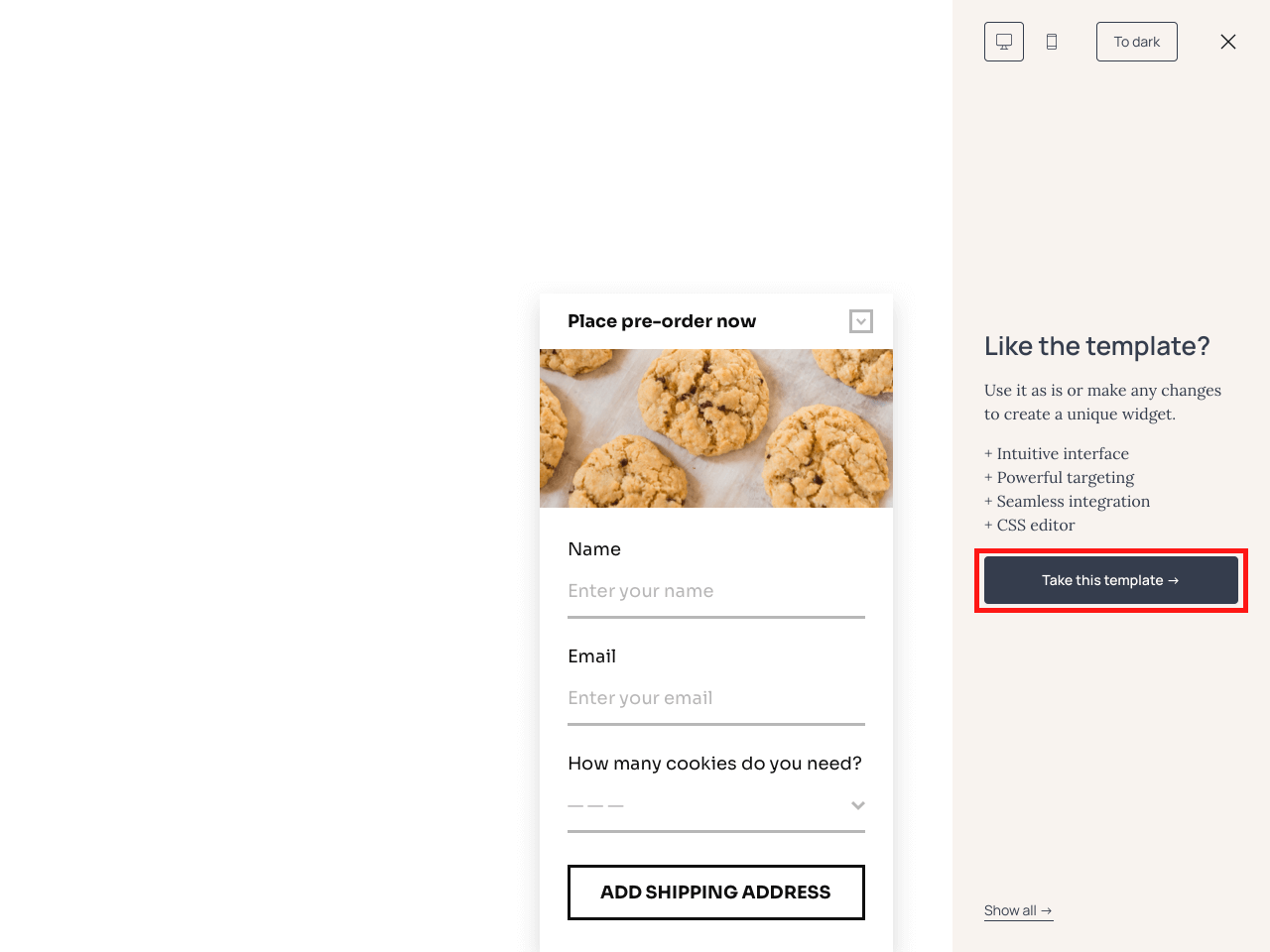 How to edit a pre-order form content using Getsitecontrol