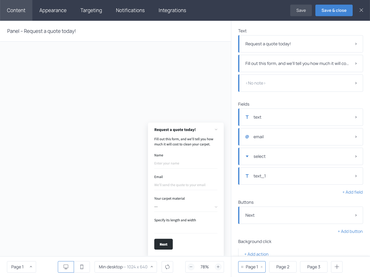How to create a custom quote request form in Getsitecontrol