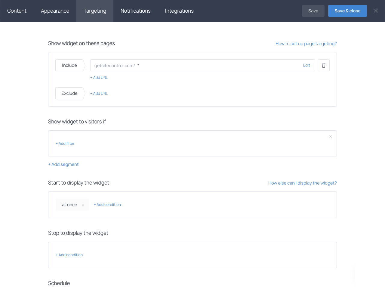 Targeting rules used to select pages where a quote request form will display